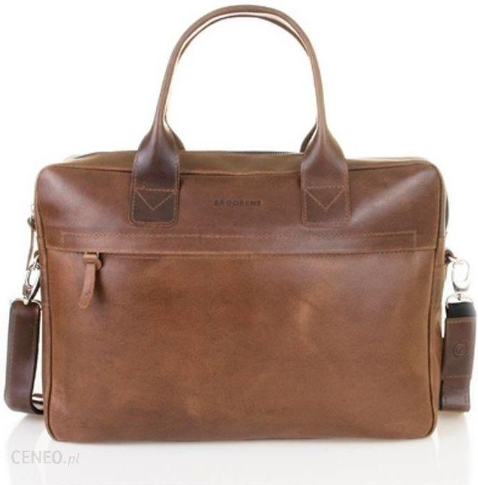 e165a7f3dace1 Aktówka. Skórzana torba męska na laptopa BRØDRENE R03 - jasny brąz ...