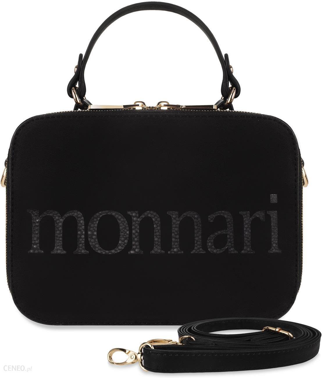 cb3461cbe4452 Dwukomorowy kuferek monnari torebka damska listonoszka do ręki i na ramię  nubuk logo - czarny -