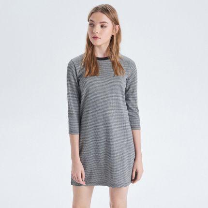 e310acbb35 Cropp - Trapezowa sukienka w drobne paski - Czarny ...