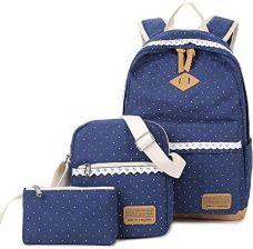 c0328a7437b5e Amazon SANNU Canvas plecak dla dziewczynek, 3-częściowy zestaw plecaków  szkolnych + torba na