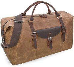 638587e3e0239 Amazon Torba podróżna męska skóra wodoszczelna płócienna torba weekendowa  duża pojemność torba podróżna uniseks vintage bagaż