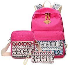 9f35fe1352cb3 Amazon alando Casual Canvas Plecak szkolny zestaw + torba torba na ramię  plecak + portfel piórnik causal plecak rekreacyjny plecaki dzienne Back Pack