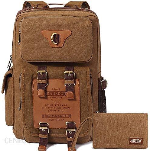 1debbe94bc28d Amazon Canvas Vintage plecak, KAUKKO damski męski plecak szkolny retro  stylowy plecak outdoorowy podróż wędrówki