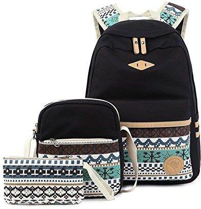 282719f35bb93 Amazon 3-częściowy zestaw plecak szkolny płócienny plecak  dziewczęcy/damski, plecak szkolny/