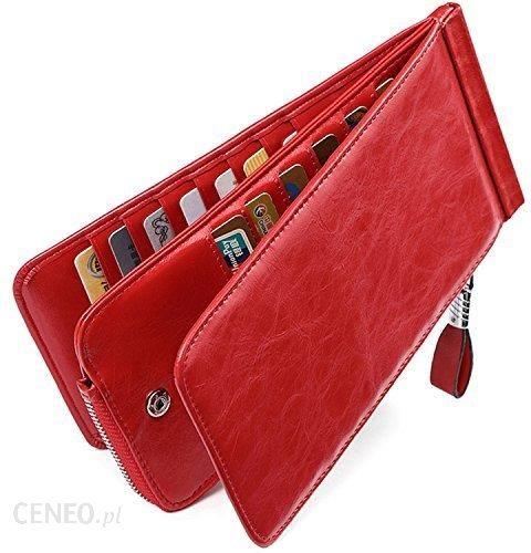 Amazon Huztencor etui na karty damskie skóra portfel portmonetka portfel teczka na karty kredytowe RFID, duży zamek błyskawiczny ( przez Amazon