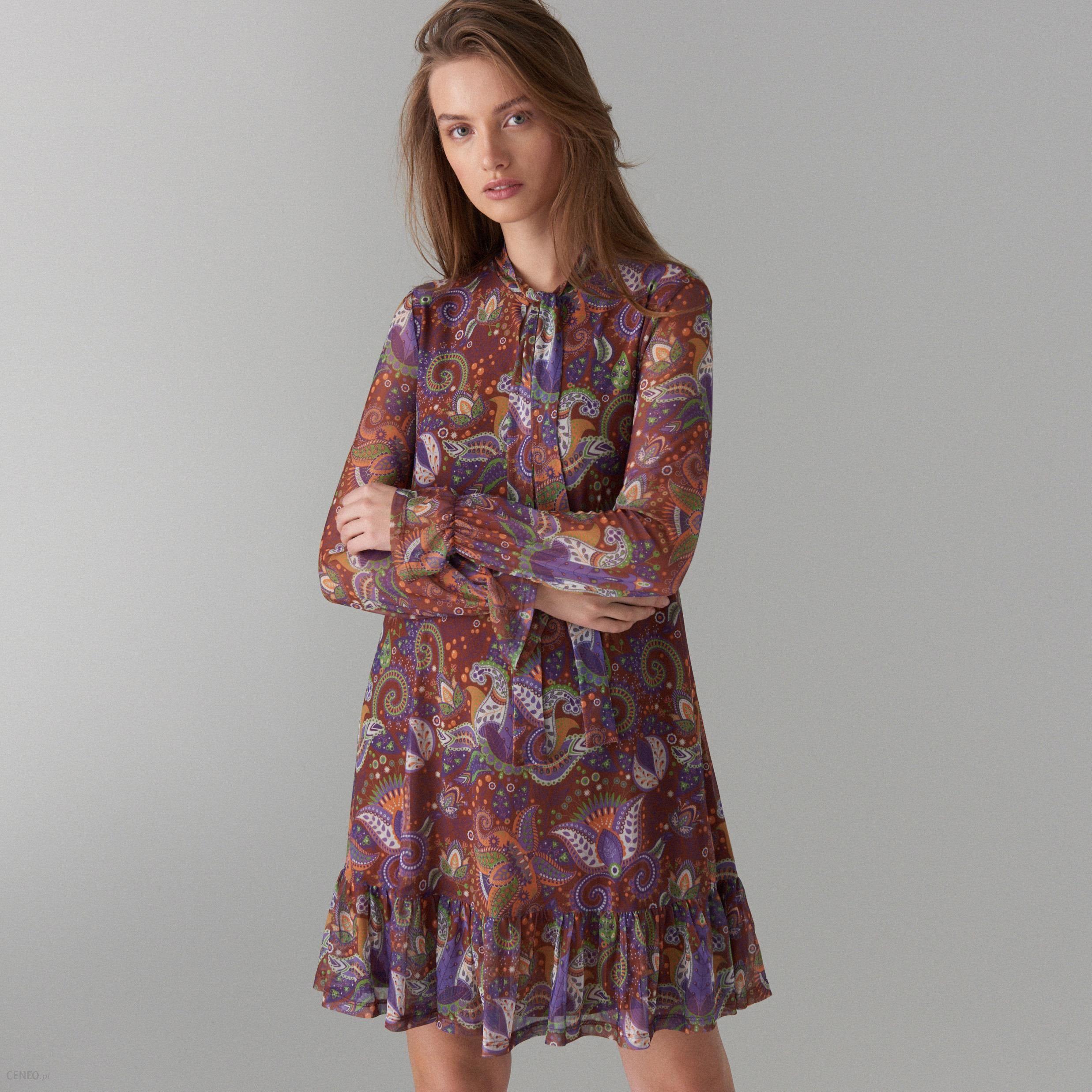 4e2e7b67 Mohito - Trapezowa sukienka we wzory - Brązowy - Ceny i opinie - Ceneo.pl