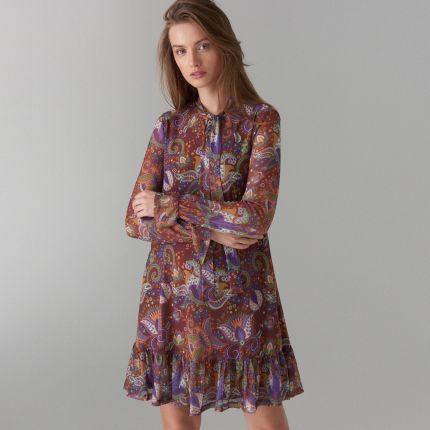89fda85aba Mohito - Trapezowa sukienka we wzory - Brązowy Mohito
