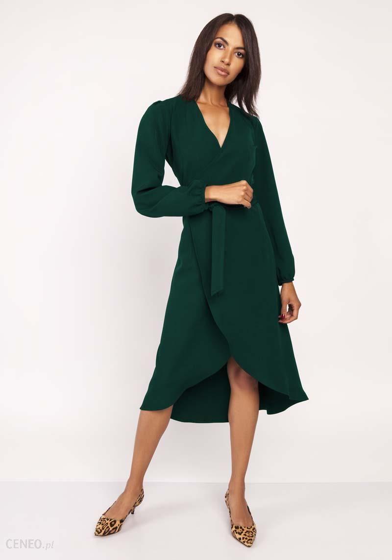 Lanti Zielona Asymetryczna Sukienka Kopertowa z Wiązanym Paskiem