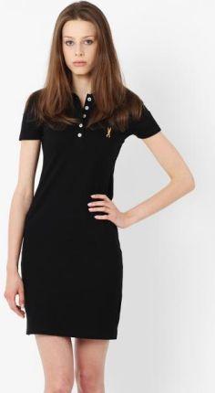 a10da25d63c5 Katrus Czarna Elegancka Trapezowa Sukienka z Białym Koszulowym ...