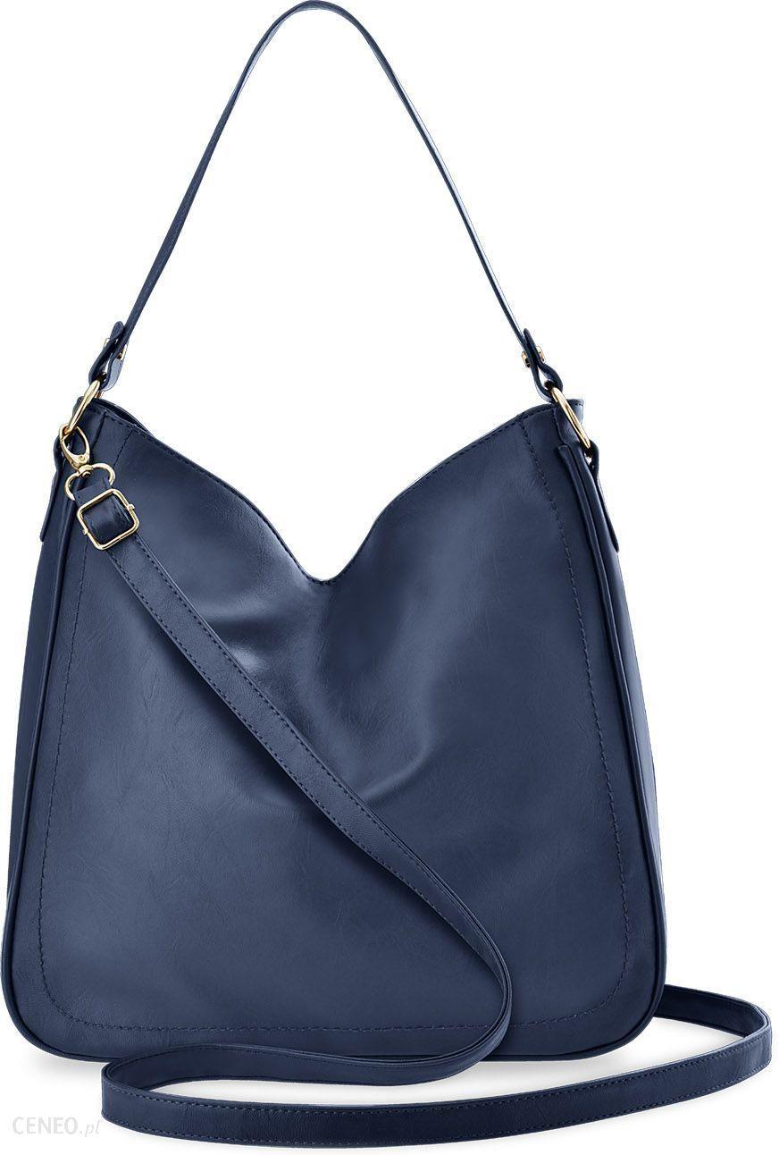 8a1be26279a45 Pojemna torebka damska na ramię torba worek duża shopperka z dwoma paskami  - granatowy - zdjęcie