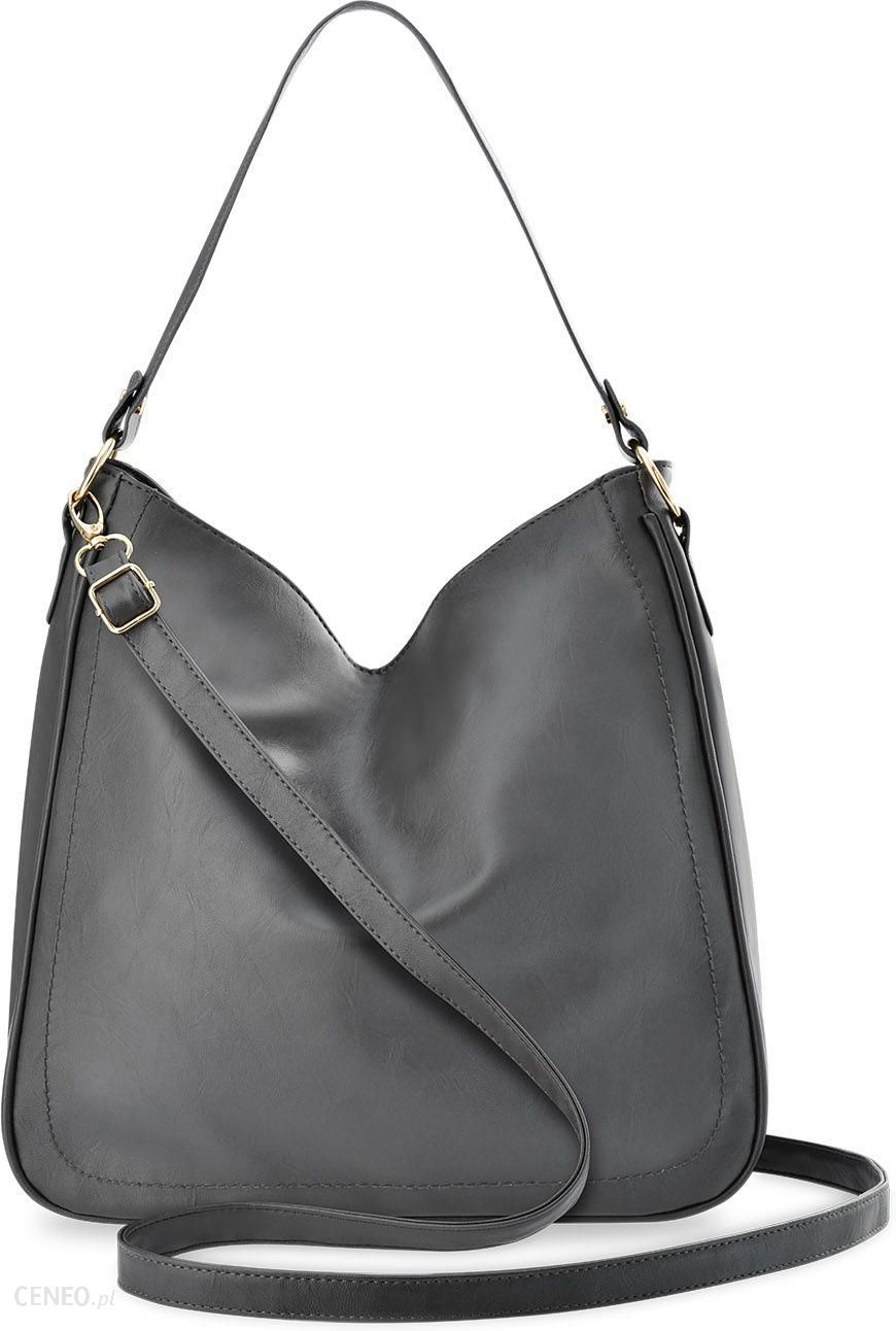 e9382235c06f64 Pojemna torebka damska na ramię torba worek duża shopperka z dwoma paskami  - szary - zdjęcie
