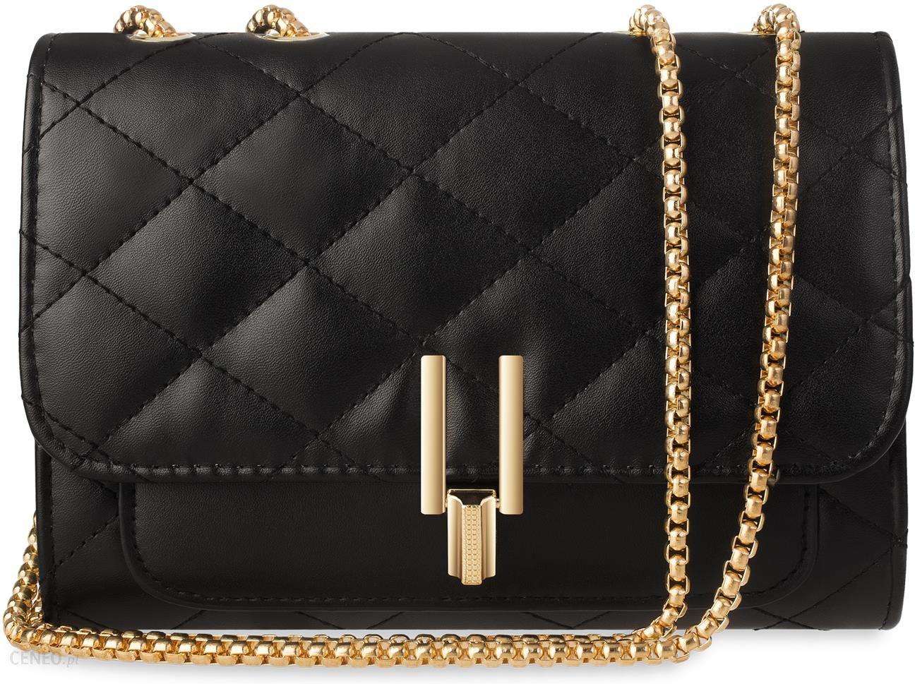 e25fb62afc81e Elegancka torebka damska pikowana chanelka kuferek na łańcuszku - czarny -  zdjęcie 1