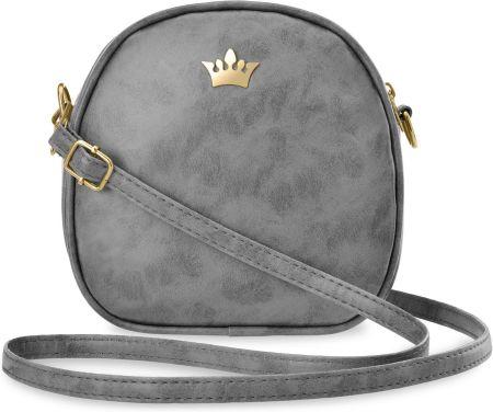 5d64a0175e2f6 Mała torebka damska listonoszka przewieszka kuferek na długim pasku z  koroną - szary