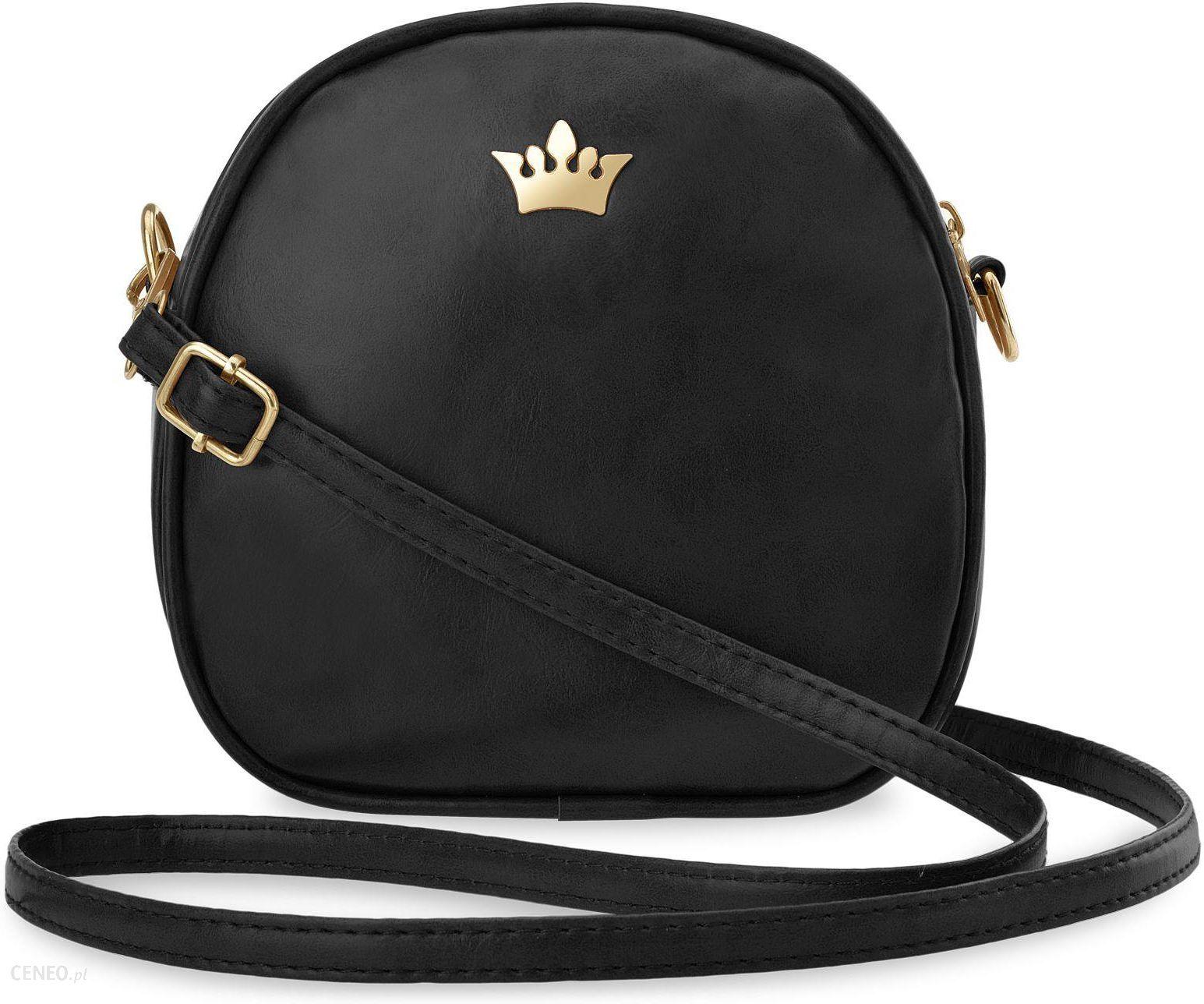 e6eac0cdef95d Mała torebka damska listonoszka przewieszka kuferek na długim pasku z  koroną - czarny - zdjęcie 1