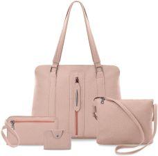 42f61b700d11a Zestaw torebek damskich 4w1 torba shopperka z ozdobnym zamkiem listonoszka  saszetka etui - różowy - zdjęcie