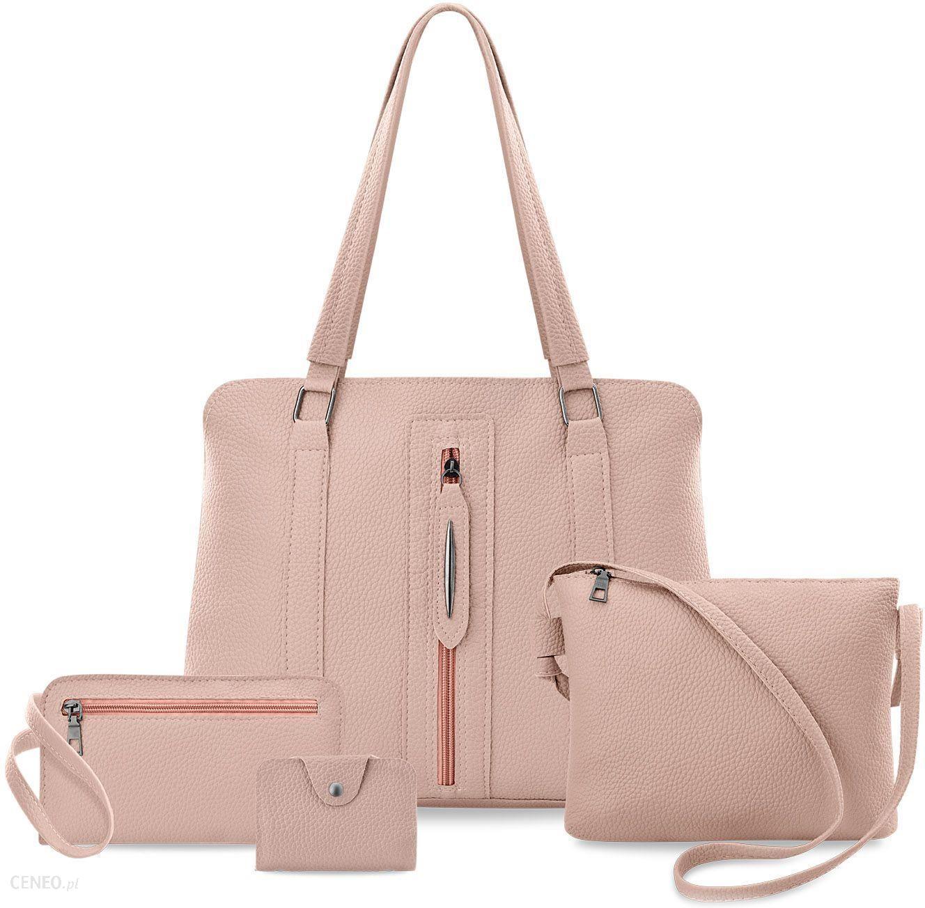 e077ef1e61779 Zestaw torebek damskich 4w1 torba shopperka z ozdobnym zamkiem listonoszka  saszetka etui - różowy - zdjęcie