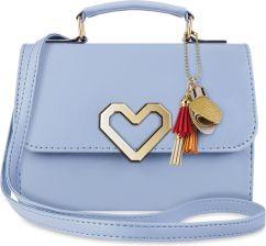 bf15d6a00e50b Torebka damska sztywny kuferek do ręki listonoszka z klapą i breloczkiem  pastele - niebieski