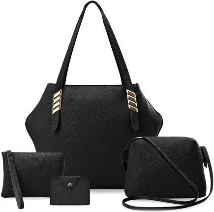 c2a51ce2d3503 Zestaw torebek damskich 4w1 shopper bag listonoszka saszetka etui - czarny