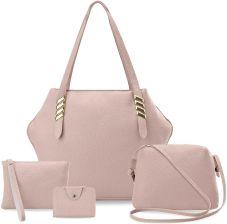 Zestaw torebek damskich 4w1 shopper bag listonoszka saszetka etui różowy