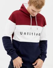 99c8143b157 Burton Menswear hoodie with untitled print in colour block red - Red - zdjęcie  1