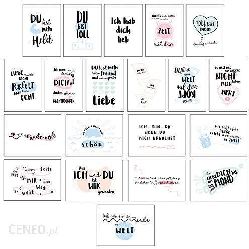 Amazon Zestaw 20 Kartek Pocztowych Od Cupcakes Kisses Miłosne I Piękne Powiedzenia I Motywy I Kartki Okolicznościowe Z życzeniami Dla Przyjaciół I