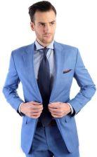 5e23ddab720af Niebieski garnitur męski w błękitną i brązową kratę szyty na miarę