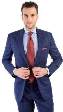 575eba8abbbf2 Granatowy garnitur męski w niebieską kratę windowpane szyty na miarę
