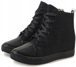 9a07b66aac28c Czarne sneakersy koturny trampki botki DD385-1 36 - Ceny i opinie ...