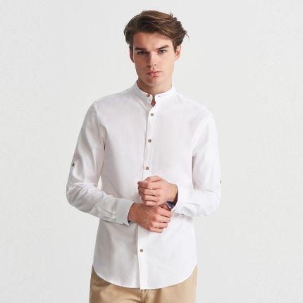 82f22418f64d Reserved - Koszula regular fit ze stójką - Biały ...