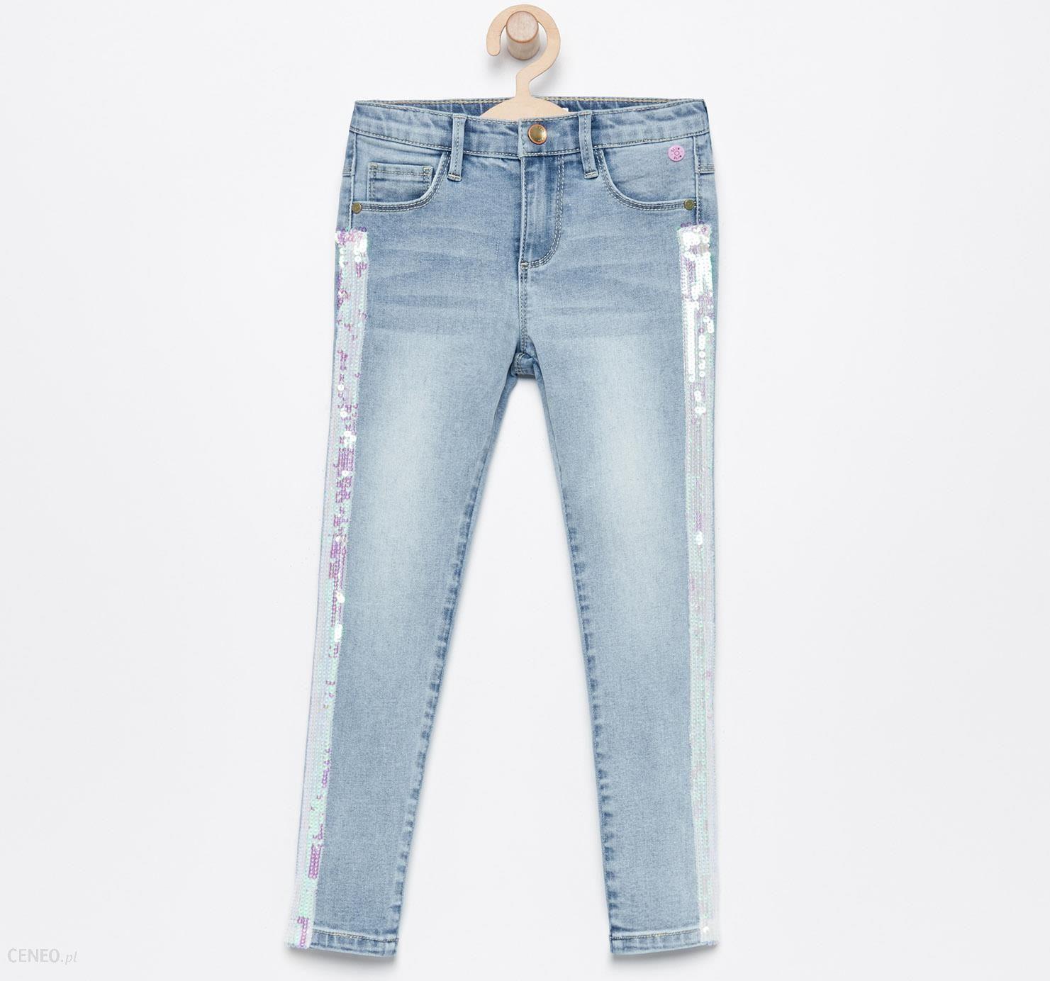 968328b4 Reserved - Jeansy slim fit z cekinowymi lampasami - Niebieski - Ceny i  opinie - Ceneo.pl