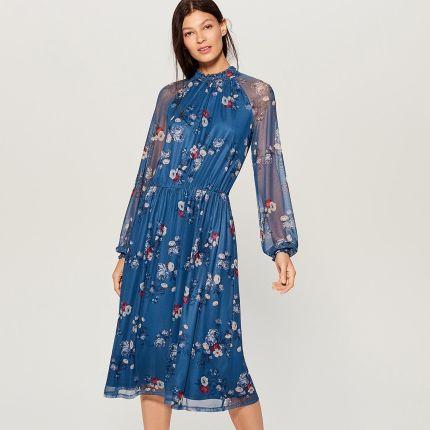3deddd3656 Mohito - Szyfonowa sukienka w kwiaty - Niebieski Mohito