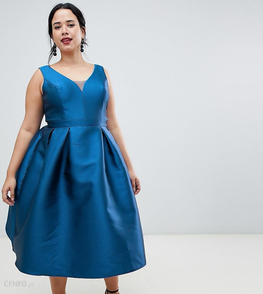 8654cff3 Chi Chi London Plus prom midi dress with sweetheart neckline in teal blue -  Navy -
