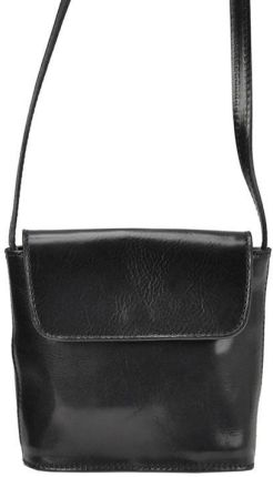 Skórzana torebka damska listonoszka BALEINE R155 czarna