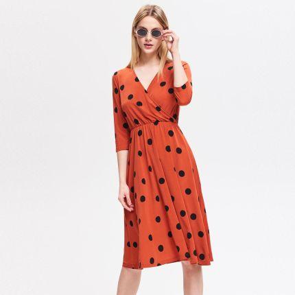 71a779540d Reserved - Sukienka z kopertowym dekoltem - Brązowy ...