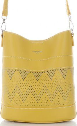 fd3867dca9e3c David Jones firmowe Ażurowe Torebki Damskie Listonoszki wykonane z wysokiej  jakości skóry ekologicznej Żółte ...