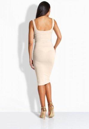 e56210592d lemoniade EM102 Klasyczna kobieca sukienka z fantazyjnym marszczeniem beżowy