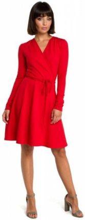 d374144e35 B092 Rozkloszowana sukienka z górą na zakładkę - czerwona