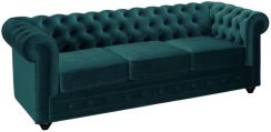 Vente Unique 3 Osobowa Sofa Chesterfield Welur W Odcieniu Morskim