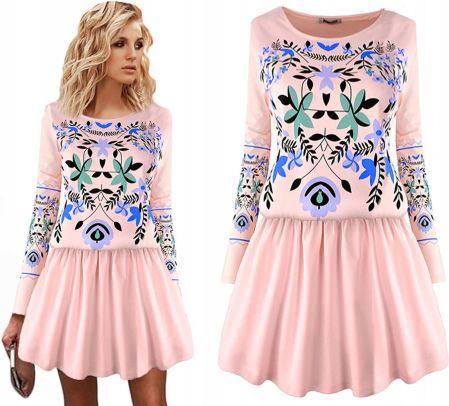 1cd5a49ac1 Prosta sukienka ozdobiona koronką w pasie 40 L - Ceny i opinie ...