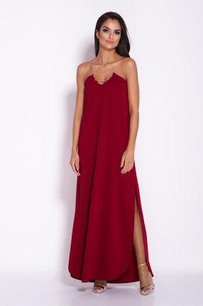 1079ed44a8 Dursi Granatowa Elegancka Luźna Sukienka z Wydłużonym tyłem na Wesele  179