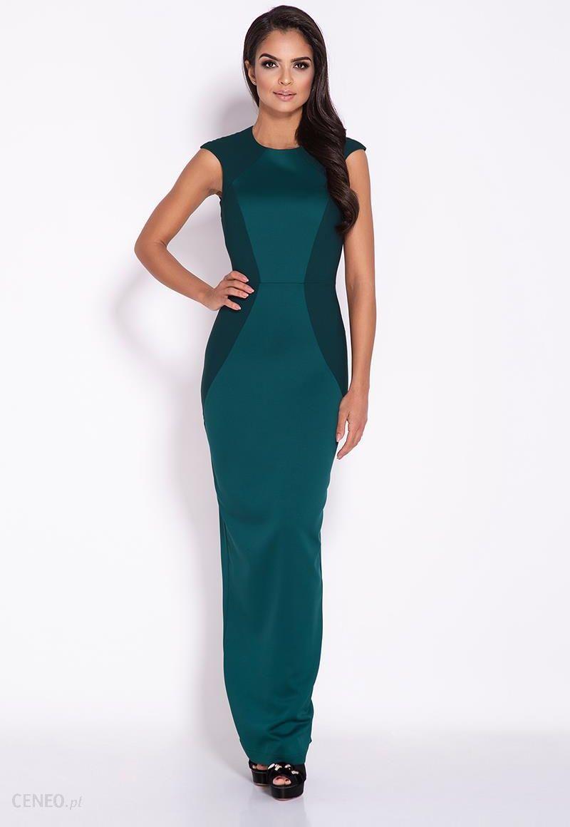 712f13cacc Dursi Zielona Elegancka Długa Sukienka z Wycięciem na Plecach - zdjęcie 1