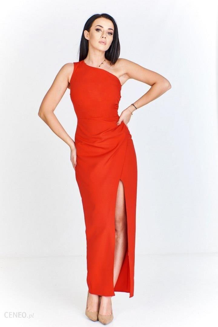 bdf4765ea33 Długa sukienka na jedno ramię z drapowanym bokiem i rozcięciem z przodu  vaaco.pl - Ceny i opinie - Ceneo.pl