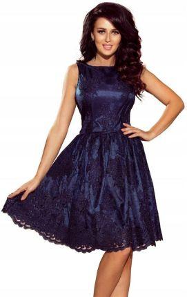 9ed3aef545 Ekskluzywna rozkloszowana sukienka Granat Haft S - Ceny i opinie ...