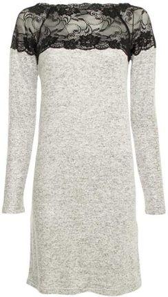 94a12120d4 Vero Moda Sukienka damska Cima Lace Ls Dress LightGrey Melange W. Black  Lace (rozmiar