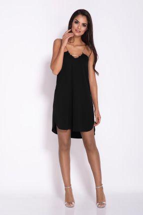66297e00ca Dursi Czarna Elegancka Luźna Sukienka z Wydłużonym tyłem na Wesele