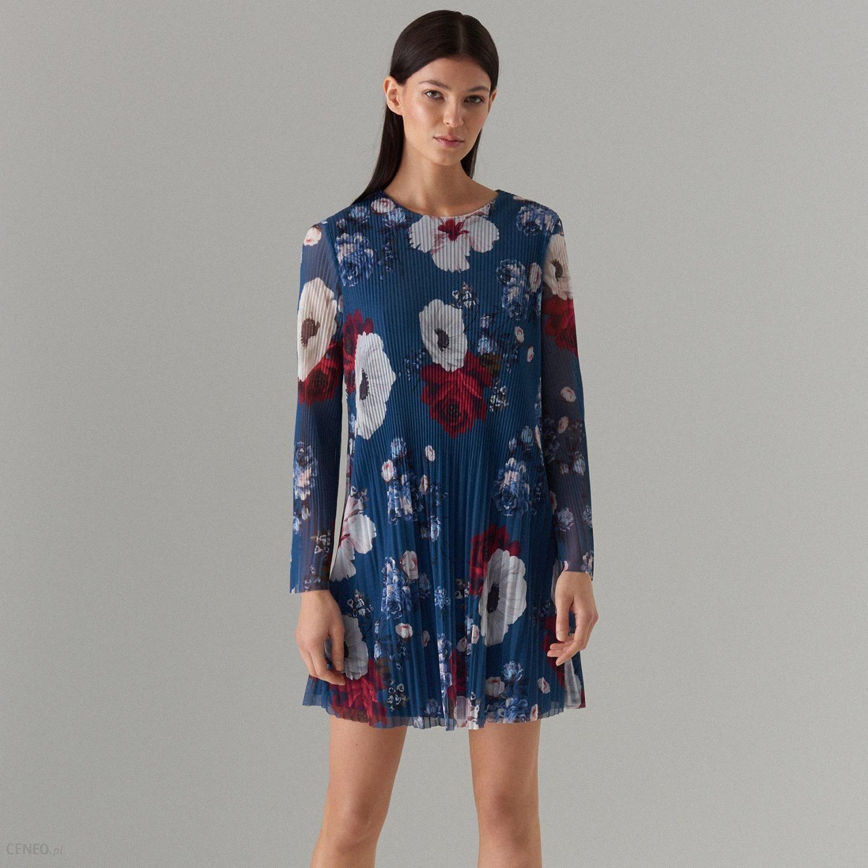 34016dabd2 Mohito - Plisowana mini sukienka w kwiaty - Niebieski - Ceny i ...
