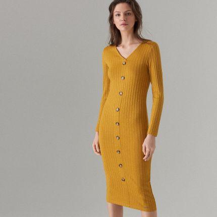 40ee61ef02 Mohito - Dopasowana midi sukienka - Brązowy Mohito