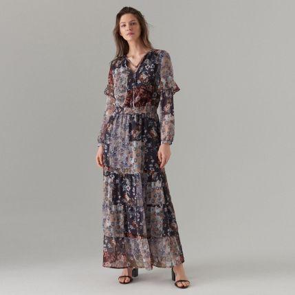 47d0404910 Mohito - Maxi sukienka z falbanami - Czarny Mohito