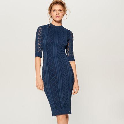 855759860f Mohito - Dopasowana sukienka w ażurowy wzór - Niebieski Mohito