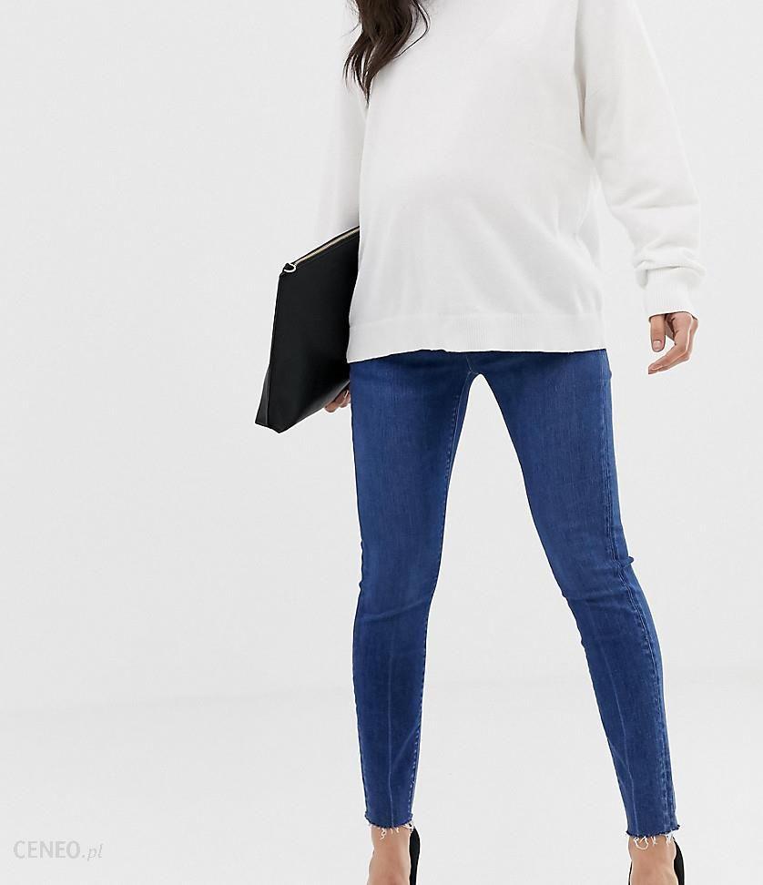 8548e5b121646 ASOS DESIGN Maternity Petite Ridley high waist skinny jeans in dark stone wash  with raw hem